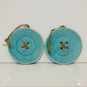 2 Home Decor Wall Hanging Ceramic Blue Buttons